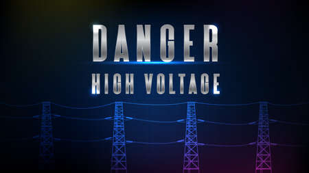 abstract background of futuristic technology high vocational electric pole with text DANGER HIGH VOLTAGE 矢量图像