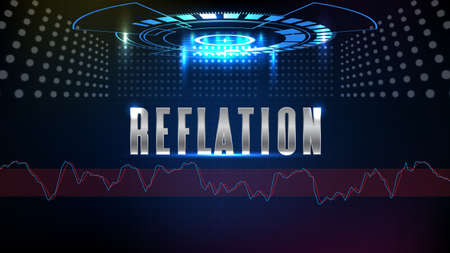 abstract background of blue futuristic technology glowing blue REFLATION text with stochastic oscillator technical analysis indian stock market 矢量图像