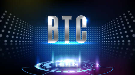 abstract background of futuristic technology cryptocurrency BTC Bitcoin sign text and hud ui technology innovation display