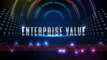 abstract background of futuristic technology enterprise value (EV) sign text and hud ui technology innovation display