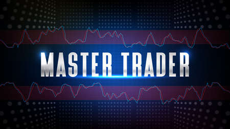 abstract background of blue futuristic technology glowing Master Trader text with stochastic oscillator technical analysis stock market 矢量图像