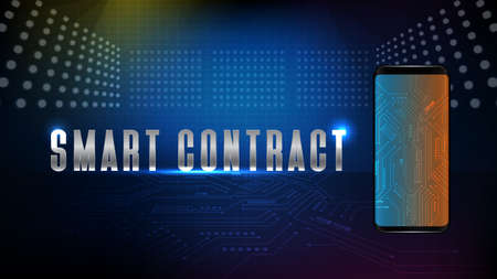 abstract background of futuristic technology electronic blue Printed Circuit Board line with smart contract text on smart mobile phone 矢量图像