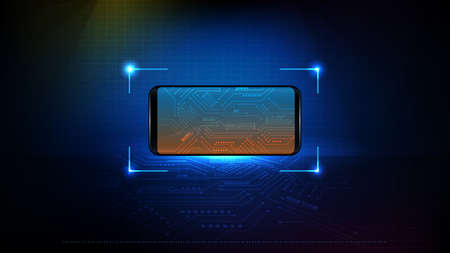 abstract background of futuristic technology smart phone with circuit electronic line