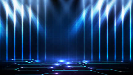 abstract futuristic background of blue empty stage arena stadium spotlgiht stage background 矢量图像
