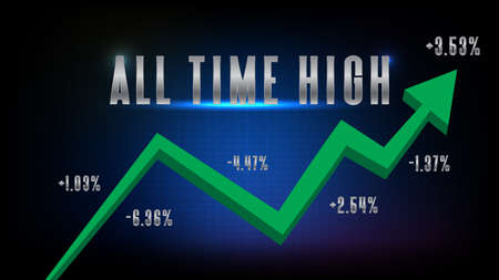 abstract background of stock market with green arrow up trend with all time high text