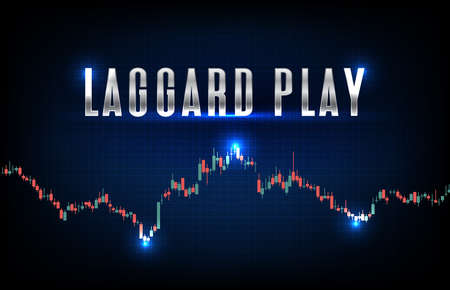 abstract futuristic technology background of laggard play stock and candle stick bar chart graph green and red