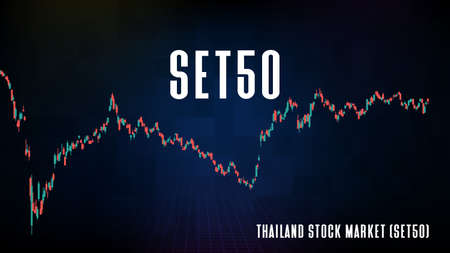 abstract futuristic technology background of Thailand Stock Market (SET50) and candle stick bar chart graph Vetores