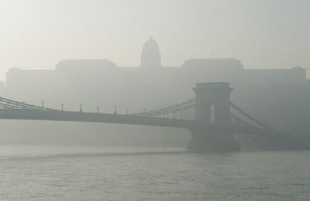 szechenyi: Bridge Szechenyi and Royal Palace in Budapest