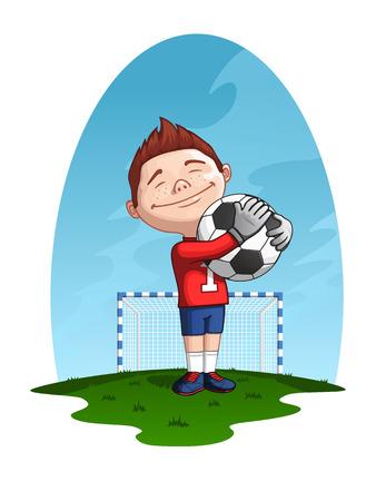 arquero de futbol: portero joven que sostiene la pelota