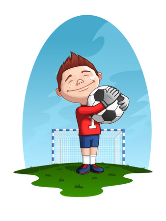 Young goalkeeper holding the ball