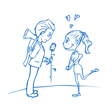 Sketch. The boy gives a girl a rose. The evil intentions.