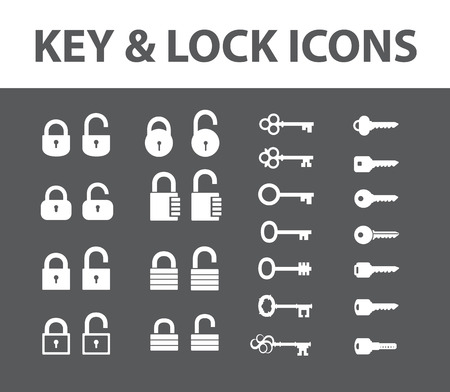 latchkey: Black keys and locks. Icons set. Vector collection keys and locks.