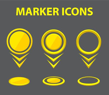 marcatori Vector. Raccolta dei marcatori di colore giallo. Impostare puntatori mappa. Icone puntatore. puntatori Illustrazione.