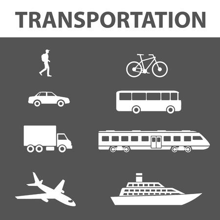 isoalated: Transportation icons set. Transport, travel vector icons set isoalated on white. Logistic icons.