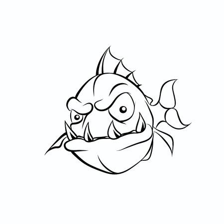 Piranha illustration. Piranha illustration Vector. Piranha cartoon art. Piranha illustration eps. Piranha Image.