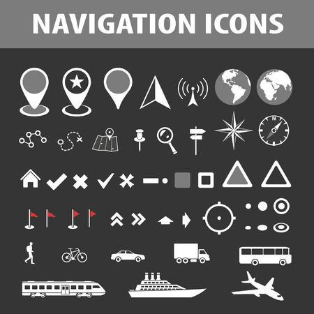 topography: Cartography and topography icon set. Maps, location and navigation icons. Vector illustration.