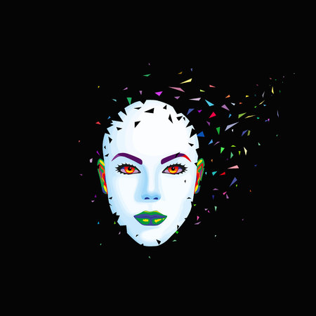 disappear: Abstract womans face breaks into pieces. Vector illustration