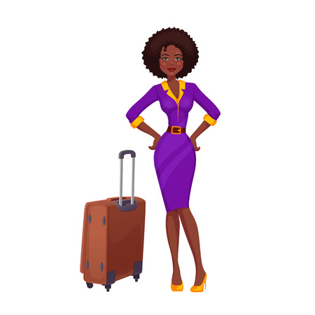 rolling bag: African girl on vacation