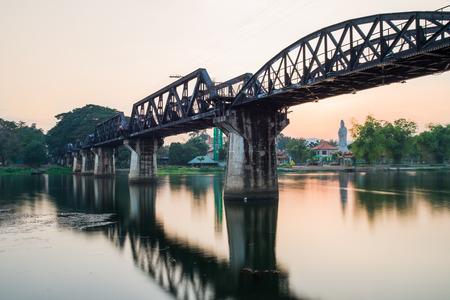 long exposure photography at river kwai bridge in Kanchanaburi ,Thailand photo