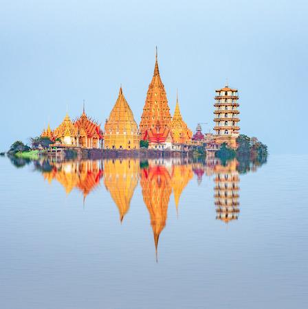 sua: Reflection of Tiger Cave Temple Wat Tham Sua , Kanchanaburi Province, Thailand