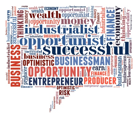 industrialist: Opportunist info-colorful text graphic and arrangement concept on white background (word cloud) Stock Photo
