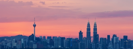 Panoramic View of Kuala Lumpur City,the most populous city in Malaysia during sunset