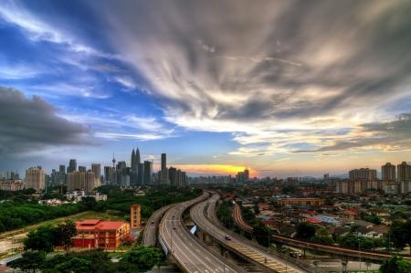 Dramatic scenery of Kuala Lumpur cityscape, capital city of Malaysia