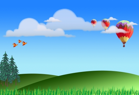 Illustration of green landscape with hot air balloons, clouds and birds illustration