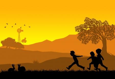 Illustrazione di uno sfondo di paesaggio rurale con silhouette di bambini che giocano e conigli photo