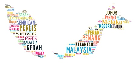 Malaysia map info-text and graphic arrangement concept on white background  word cloud  photo