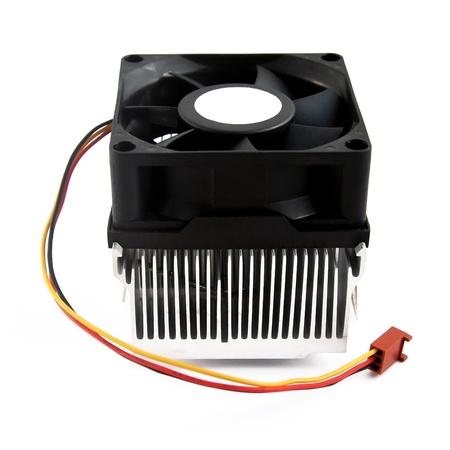 Processor heatsink cooler fan on white background photo