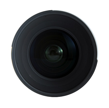Front view of an SLR lens isolated on white background photo