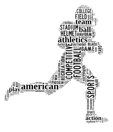 American football player info-text graphic and arrangement concept on white background  word cloud