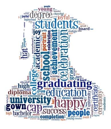 graduacion de universidad: Graduate info-gráfico colorido de texto y el concepto de acuerdo en el fondo blanco nube de palabras Foto de archivo