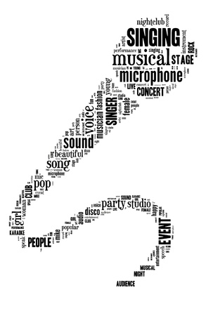 mike: Microphone info-text graphic and arrangement composed in microphone shape concept on white background