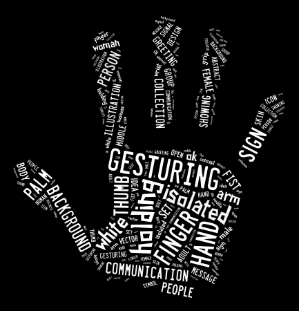 Text graphic arrangement concept composed in hand shape on black background Stock Photo