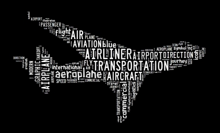 Aeroplane-text graphic and arrangement concept on black background  white background  photo
