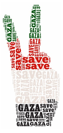 Save Gaza info-text graphic and arrangement concept on white background  word cloud  photo