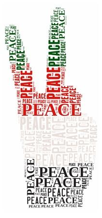 Peace info-text graphic and arrangement concept on white background  word cloud