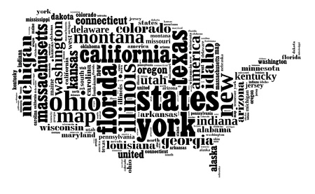 USA info-text graphic and arrangement composed in USA map concept on white background photo