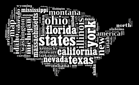 USA info-text graphic and arrangement composed in USA map concept on black background photo