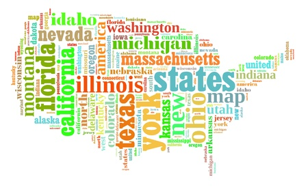 USA info-colorful text graphic and arrangement composed in USA map concept on white background photo