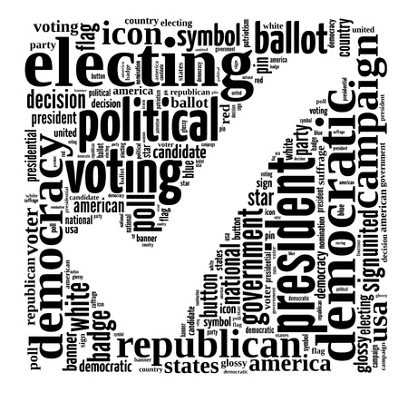 Voting info-text graphic and arrangement concept on white background  word cloud  photo