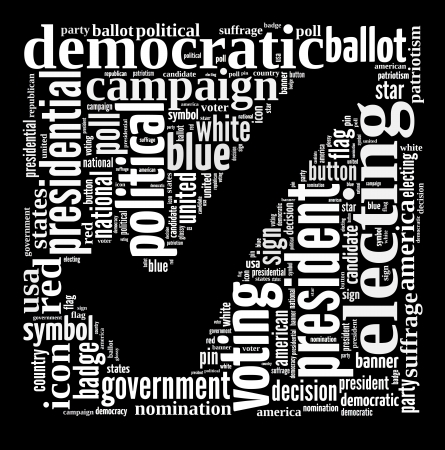 Voting info-text graphic and arrangement concept on black background  word cloud