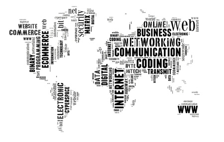 worldwideweb: Digital technology info-text graphic and arrangement concept on white background  word cloud  Stock Photo