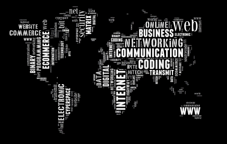 worldwideweb: Digital technology info-colorful text graphic and arrangement concept on black background  word cloud  Stock Photo