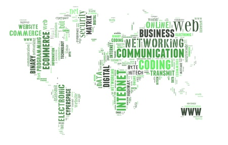 worldwideweb: Digital technology info-colorful text graphic and arrangement concept on white background  word cloud