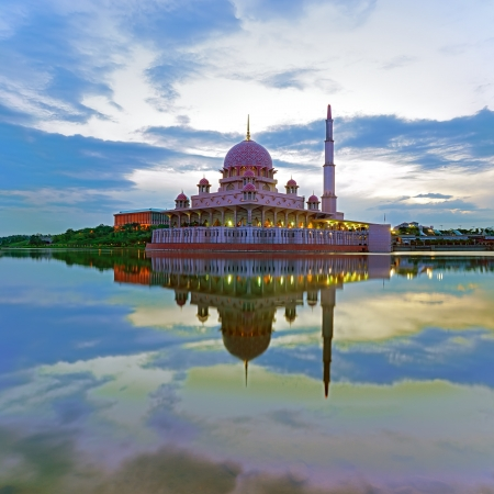 islamic scenery: Landscape of mosque reflection in Putrajaya, Malaysia