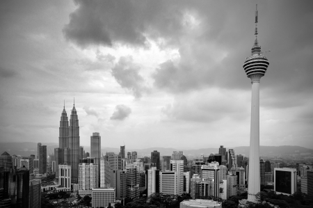 Landscape of Kuala Lumpur city in black and white