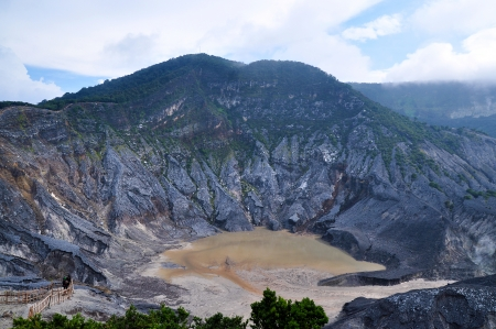 Crater of Tangkuban Perahu near Bandung in Jawa, Indonesia